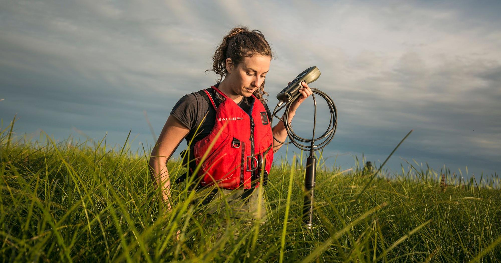 Lia Chalifour walks through the tall grass of the Fraser Estuary hauling her equipment for the salmon ear bone study.