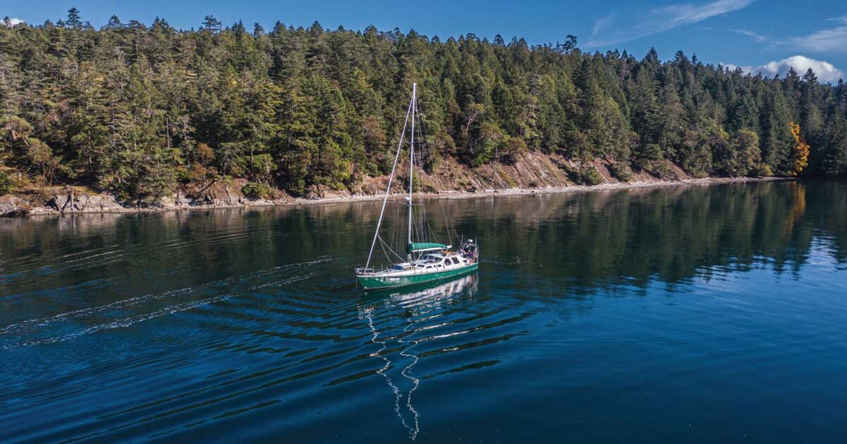 Achiever anchored in the Salish Sea on a sunny day.