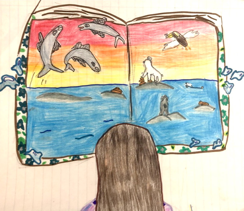 Children's drawing of a young girl reading a book that has an ocean scene with lots of marine wildlife.