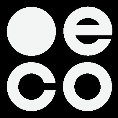 Dot eco trust mark, white, icon.