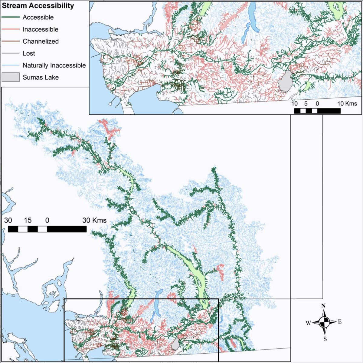 Figure 3, a map of lost streams and habitat for Pacific Salmon.